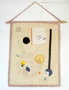 Textile Wall Hanging made from vintage blanket by halfoften
