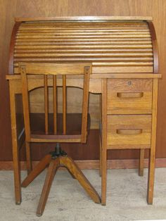 Antique child's rolltop desk and chair by firewhale on Etsy, $250.00