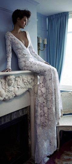white lace wedding dress, so beautiful. Thank you sis!