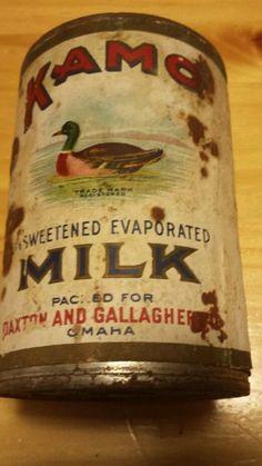 KAMO Brand Evaporated Milk tin can Paxton Gallagher Paper Label Nebraska