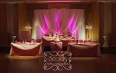 Setup of the cream voile backdrop with fuchsia led uplights, and split head table with Head Table Wedding Decorations, Head Table Decor, Backdrop Decorations, Backdrops, Reception Backdrop, Vintage Style Wedding Dresses, Wedding Images, Wedding Ideas, Toronto Wedding