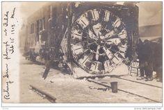 RP: Fulda , Minnesota , ROTARY SNOW PLOW PLOUGH on train , Feb. 15 1909 Item number: 288405010 SCVIEW - Delcampe.com