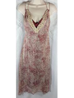 GIANNI BINI Dress Susie Size 10 Silk Lined Burgundy Off White Boho Sexy NWT New #GIANNIBiNI #Maxi #Casual