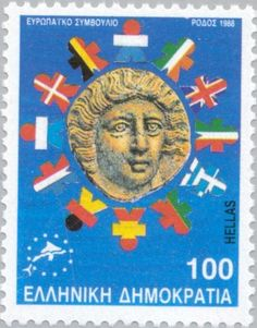 Sello: European Council - Rhodian coin with flags of member-states (Grecia) (European Union) Mi:GR Council Of Europe, European Council, Going Postal, Fauna, Ms Gs, Stamp Collecting, Postage Stamps, Herb, Coins
