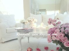Romantic living room design - Romantic living- Romantic Valentine's day Home Decoration Romantic Ev dizayn, Romantik sevgililer gunu ev dekorasyon!    Romantic Shabby Chic room Design
