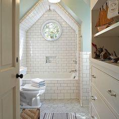 Attic Bathroom with shower in peak