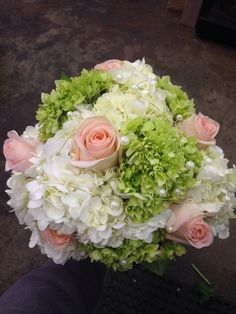 White and green hydrangea, peach roses with pearl accents, bridal bouquet, wedding flowers, memphis, tn