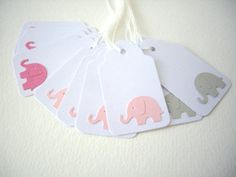 12 elephant gift tags,pink elephant tags,scalloped tags,white gift tags,baby shower tag, party favor, elephant baby shower