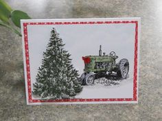 Dad's Christmas tractor by rokale - Cards and Paper Crafts at Splitcoaststampers Cute Christmas Cards, Christmas Paper Crafts, Xmas Cards, Handmade Christmas, Christmas Lodge, Winter Cards, Homemade Cards, Stampin Up Cards, Card Making