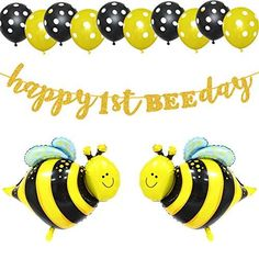 Happy Bee Day 1 Year Old Birthday Party, 1st Birthday Party Supplies, Birthday Party Celebration, First Birthday Photos, First Birthday Parties, First Birthday Decorations Girl, Bumble Bee Honey, Hanging Balloons, Bumble Bee Birthday
