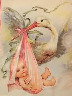 Special Delivery ~ Vintage stork and baby illustration Vintage Greeting Cards, Vintage Ephemera, Vintage Paper, Vintage Postcards, Images Vintage, Vintage Pictures, Etiquette Vintage, Baby Images, Baby Prints
