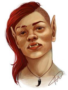 f Half Orc Rogue Thief portrait Petit maître Fantasy Races, Fantasy Rpg, Medieval Fantasy, Fantasy Artwork, Dnd Characters, Fantasy Characters, Character Portraits, Character Art, Character Ideas