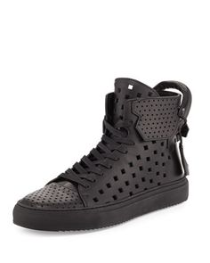 Men\'s 125mm Perforated Leather High-Top Sneaker, Black by Buscemi at Neiman Marcus.