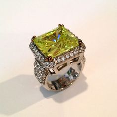 Vintage Sterling Silver Peridot and Pave Estate Jewelry Ring, via Etsy.