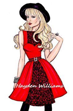 Taylor Swift by Hayden Williams Fashion Illustrations Hayden Williams, Illustration Mode, Fashion Illustration Sketches, Fashion Design Sketches, Arte Fashion, Fashion Beauty, Girl Fashion, Paper Fashion, Modelos Fashion