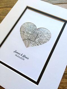 Custom Map Art First Anniversary or Wedding Gift Map by HandmadeHQ