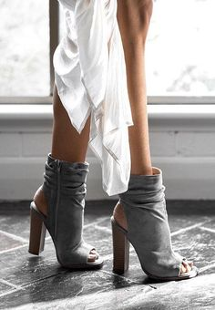 Peep Toe And Cut Out Gray Booties