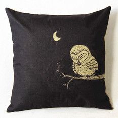 """Natural Brown Owl On A Limb decorative throw pillow cover//cushion cover 18x18/"""""""