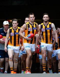 2015 Toyota AFL Grand Final - Hawthorn v West Coast - Luke Hodge of the Hawks leads his team onto the field All Team, Most Beautiful People, Oh My Love, Sport Man, Hawks, West Coast, Rugby, Finals, Toyota