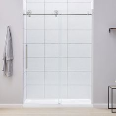 Redi Swing 1100 Series 58 In W X 68 5 8 In H Framed Swing Shower Door In Brushed Nickel With Pull Handle And Obscure Glass Tub Shower Doors Shower Doors Glass Shower Enclosures