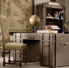 Love this desk... if I had one like this, I might actually keep it clean. (Restoration Hardware - Richards' Trunk Desk.)