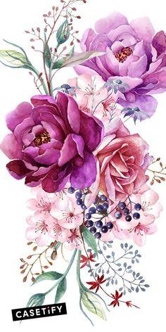 # Case # Cases # Art # Design # Pattern - Flower Tattoo Designs - Tattoo World Art Floral, Pastell Tattoo, Watercolor Flowers, Watercolor Art, Watercolor Flower Tattoos, Upper Arm Tattoos, Purple Peonies, Flower Tattoo Designs, Peony Flower Tattoos