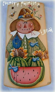 Telhas decoradas Summer Painting, Autumn Painting, Tole Painting, Fabric Painting, Painted Slate, Painted Rocks, Halloween Quilts, Fall Halloween, Pintura Tole
