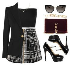 A fashion look from October 2017 featuring Calvin Klein Collection tops, Balmain blazers and Balmain mini skirts. Browse and shop related looks. Kpop Fashion Outfits, Stage Outfits, Night Outfits, Cute Fashion, Look Fashion, Cute Casual Outfits, Girly Outfits, Stylish Outfits, Mode Rockabilly