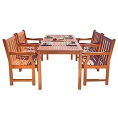 Vifah Balthazar 5 Piece Wood Patio Dining Set *** Please continue read.