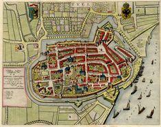 Old, antique map of Tiel by Blaeu J. | Sanderus Antique Maps
