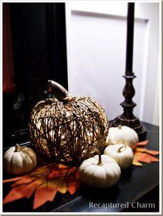 diy dollar store illuminated pumpkin, crafts, seasonal holiday decor, wreaths, Dollar Store Illuminated Twine Pumpkin for under 10 Full Tutorial at recapturedcharm com
