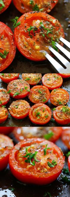 Herb Roasted Tomatoes – easiest and best roasted tomatoes recipe ever, with Italian seasoning and herb. A perfect side dish for every occasion | rasamalaysia.com