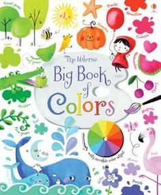 A large, sturdy board book introducing all the colors of the rainbow and their many variations, with lots of color vocabulary such as turquoise, magenta and vermilion, and color descriptions such as navy, lime and rose. The acetate page shows how colors mix and change when combined with others. UsborneBooksGeorgia.com