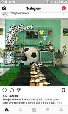 Soccer Birthday Parties, Football Birthday, Soccer Party, Sports Party, Soccer Baby Showers, Soccer Banquet, Party Deco, Mickey Mouse Parties, Minnie Mouse