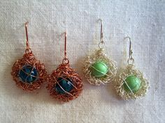 DIY bird's nest wire crochet earrings. I think I'm going to make these asap... I LOVE them!
