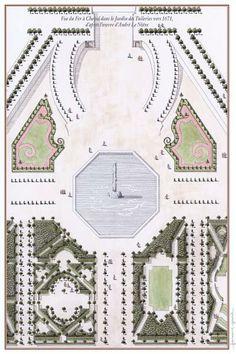 Jardin des Tuileries par A Le Nôtre. Vue à Vol d'Oiseau du Jardin des Tuileries évoquant son aspect vers 1671.
