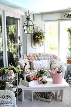 FROM BEDROOM  TO A PORCH  LARGE GLASS DOORS  ????  MAYBE NOT AS SAFE????Enclosed porch / Craft room