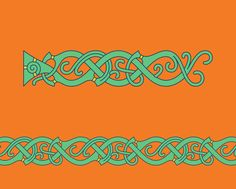 Vegetal Vine (B) in Mammen Style – Mammen style chain pattern of vegetal vines inspired by the openwork wood carvings found in the North Mound of the monument site in Jelling, Denmark. Celtic Symbols, Celtic Art, Viking Images, Viking Pattern, Medieval Embroidery, Viking Designs, Celtic Patterns, Viking Art, Norse Vikings