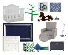 """Navy, Green, Blue, White Nursery"" by nataly-blowe on Polyvore featuring interior, interiors, interior design, home, home decor, interior decorating, PBteen, Nautica, Surya and Babyletto"