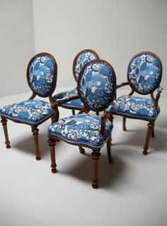 1:12 Dining Chair Set, reupholstered Bespaq by Ken Haseltine {So beautiful!!}