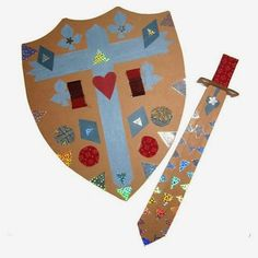 cardboard shield & sword - kids can decorate themselves! Great craft for Middle Ages unit. And something fun to play with at the Renaissance Festival this weekend! Crafts For Boys, Arts And Crafts, Princess Crafts, Princess Party, Dragons, St Georges Day, Medieval Crafts, Knight Party, Dragon Party