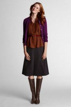 Women's Solid  Drapey Ponté Flare Skirt from Lands' End