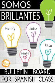 Spanish Bulletin Board for Back to School Somos BRILLANTES