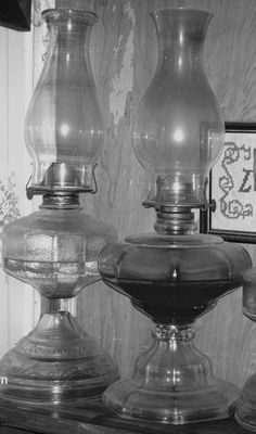 Oil or kerosene lamps. I have two of my moms. Antique Oil Lamps, Vintage Lamps, Vintage Lighting, Kerosene Lamp, Hurricane Lamps, Glass Replacement, Tiffany Lamps, The Good Old Days, Light Up