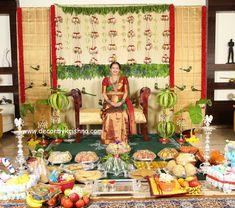 decor for kitchens Desi Wedding Decor, Wedding Stage Decorations, Backdrop Decorations, Festival Decorations, Backdrops, Baby Shower Themes, Baby Shower Decorations, Naming Ceremony Decoration, Indian Wedding Flowers