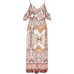 Crème schouderloze maxi-jurk met print en ruches - lange jurken - jurken - dames