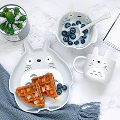 cute cups Cute Totoro And Rabbit Ceramic Cup Bowl And Dish -------------------- Size:please see the pictures,one set comes with 4 pieces. Ceramic Tableware, Ceramic Cups, Kitchenware, Cute Kitchen, Kitchen Items, Kitchen Tools, Kawaii Room, Cute Cups, Cute Food