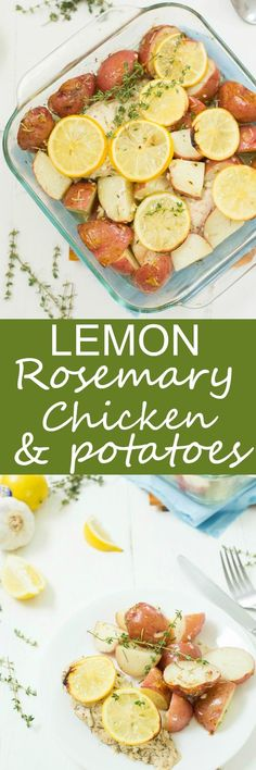 Baked Lemon Rosemary Chicken and Potatoes - So easy to make, baked in one dish, and bursting with lemony flavor! Roasted and baked in the oven to perfection. A winner every time and so healthy!