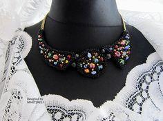 Colorful Crystal Bib Statement Necklace Swarovski Black