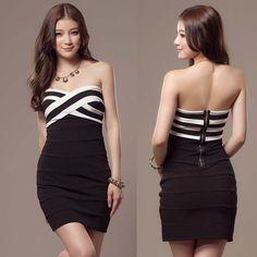 Sexy Black White Stripe Party Mini #Dress #Strapless #Cocktail